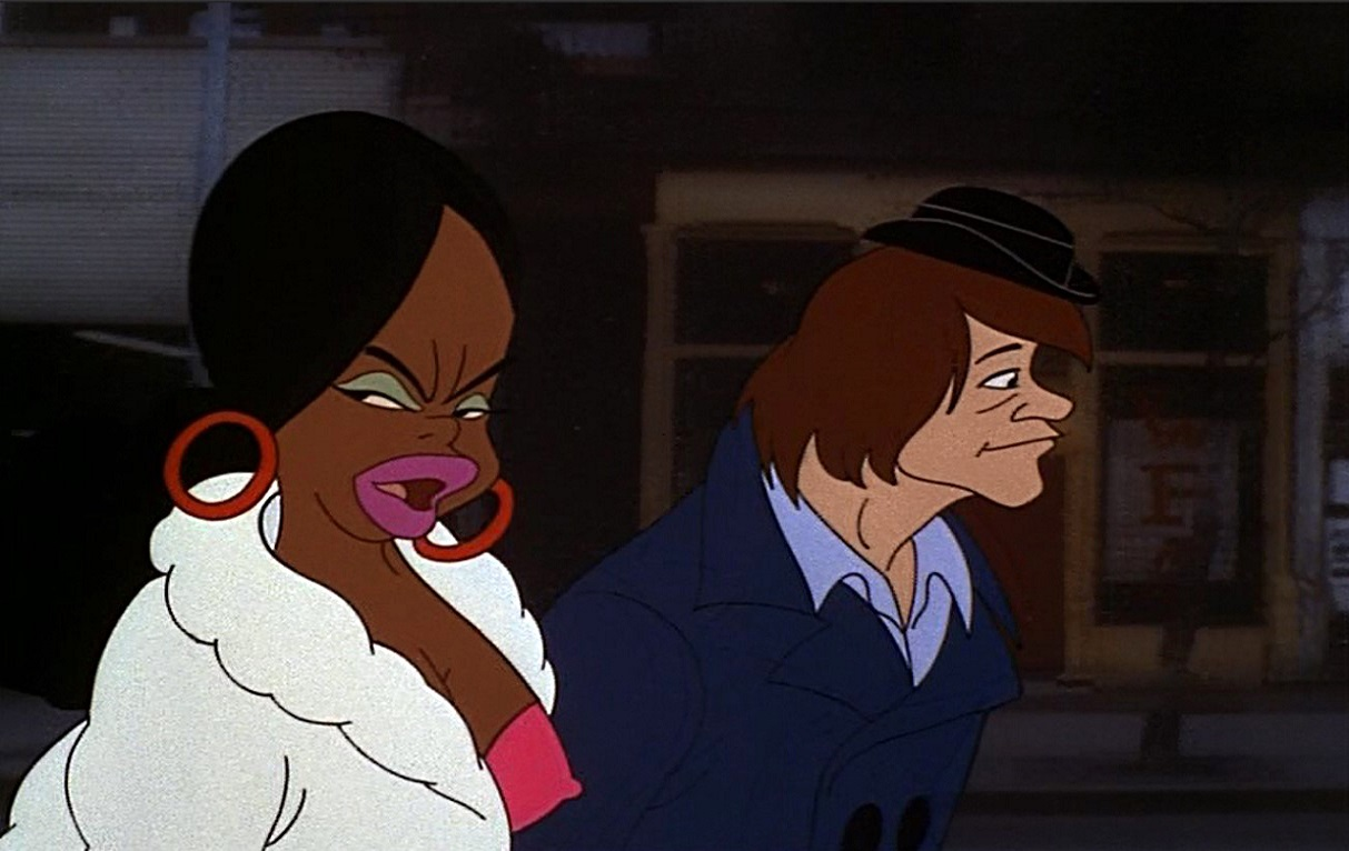 Underground cartoonist Michael Corleone (voiced by Joseph Kauffmann) and his girlfriend Carole (voiced by Beverly Hope Atkinson) in Heavy Traffic (1973)