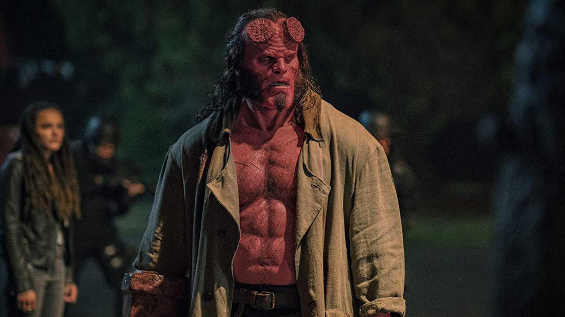 A disastrously miscast David Harbour as Hellboy (2019)