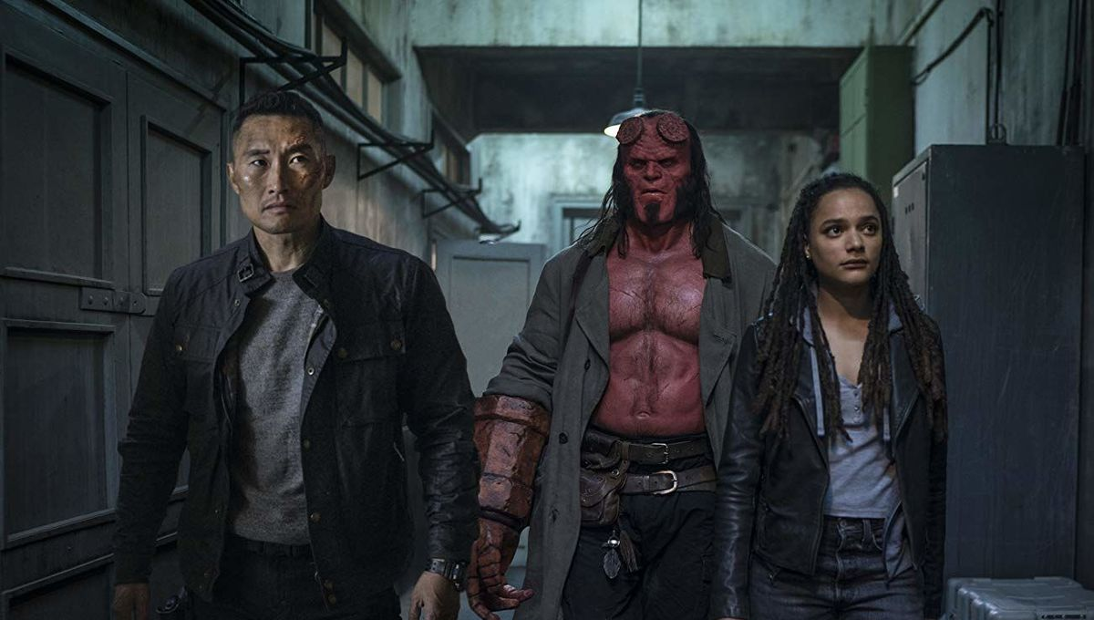 Bureau of Paranormal Research line-up - (l to r) Major Ben Daimio (Daniel Dae Kim), Hellboy (David Harbour) and Alice Monaghan (Sasha Lane) in Hellboy (2019)