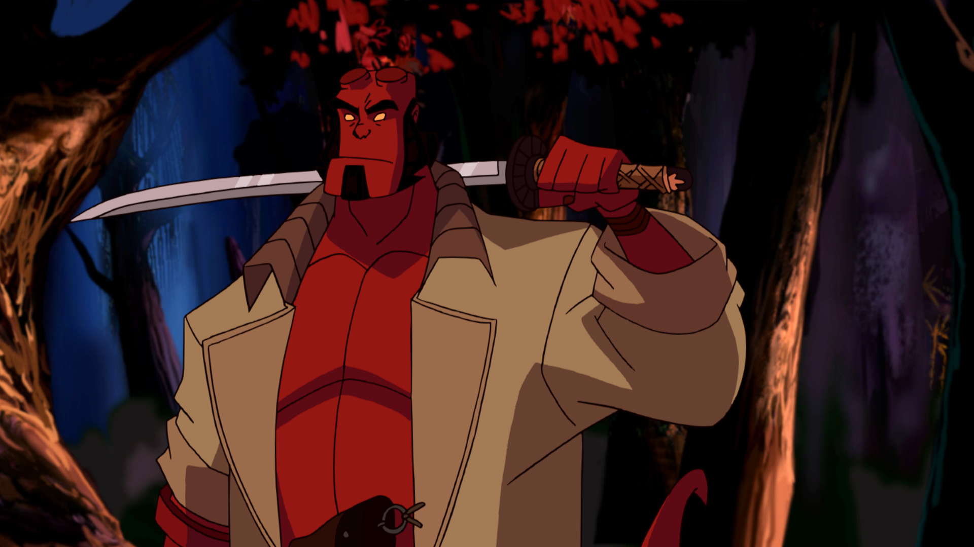 Hellboy in a Japanese spirit realm in Hellboy Animated Sword of Storms (2006)