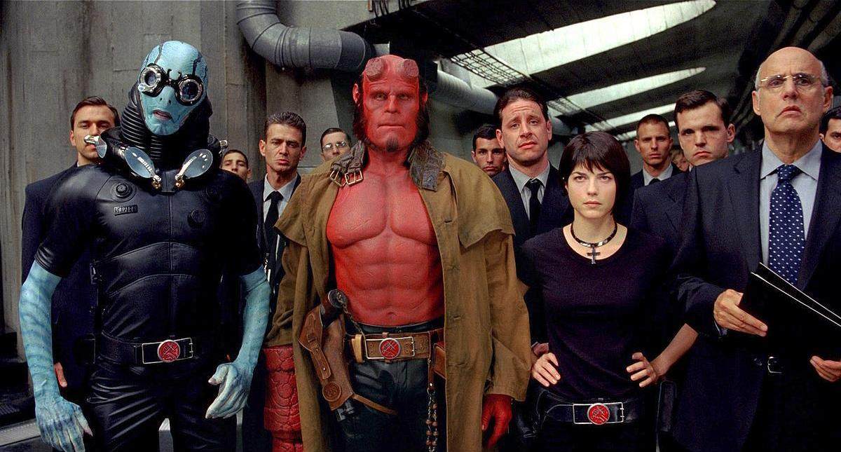 Bureau of Paranormal Research character line-up - (l to r front) Abe Sapien (Doug Jones), Hellboy (Ron Perlman), Liz Sherman (Selma Blair) and Dr Tom Manning (Jeffrey Tambor) in Hellboy II: The Golden Army (2008)