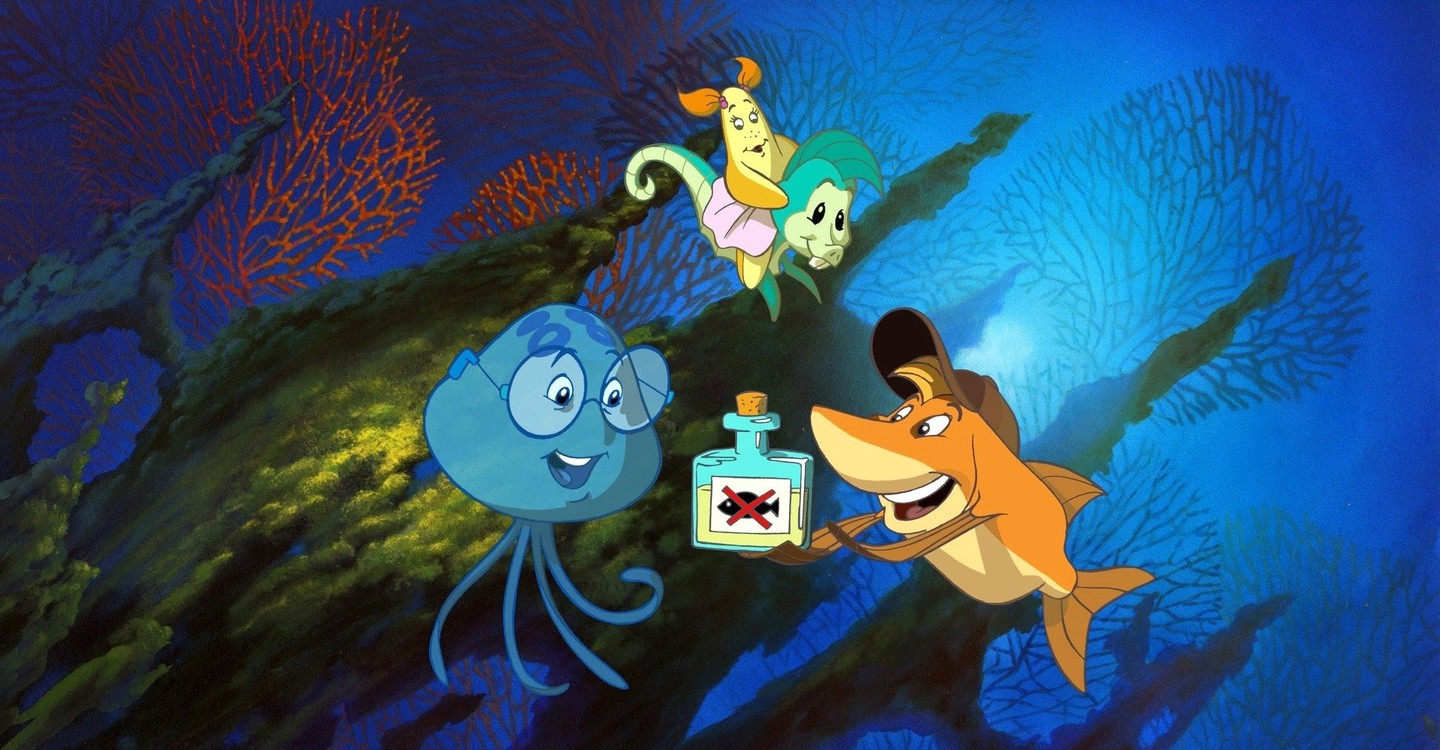 The three children transformed into fish - (l to r) Chuck, Stella and Fly in Help! I'm a Fish (2000)