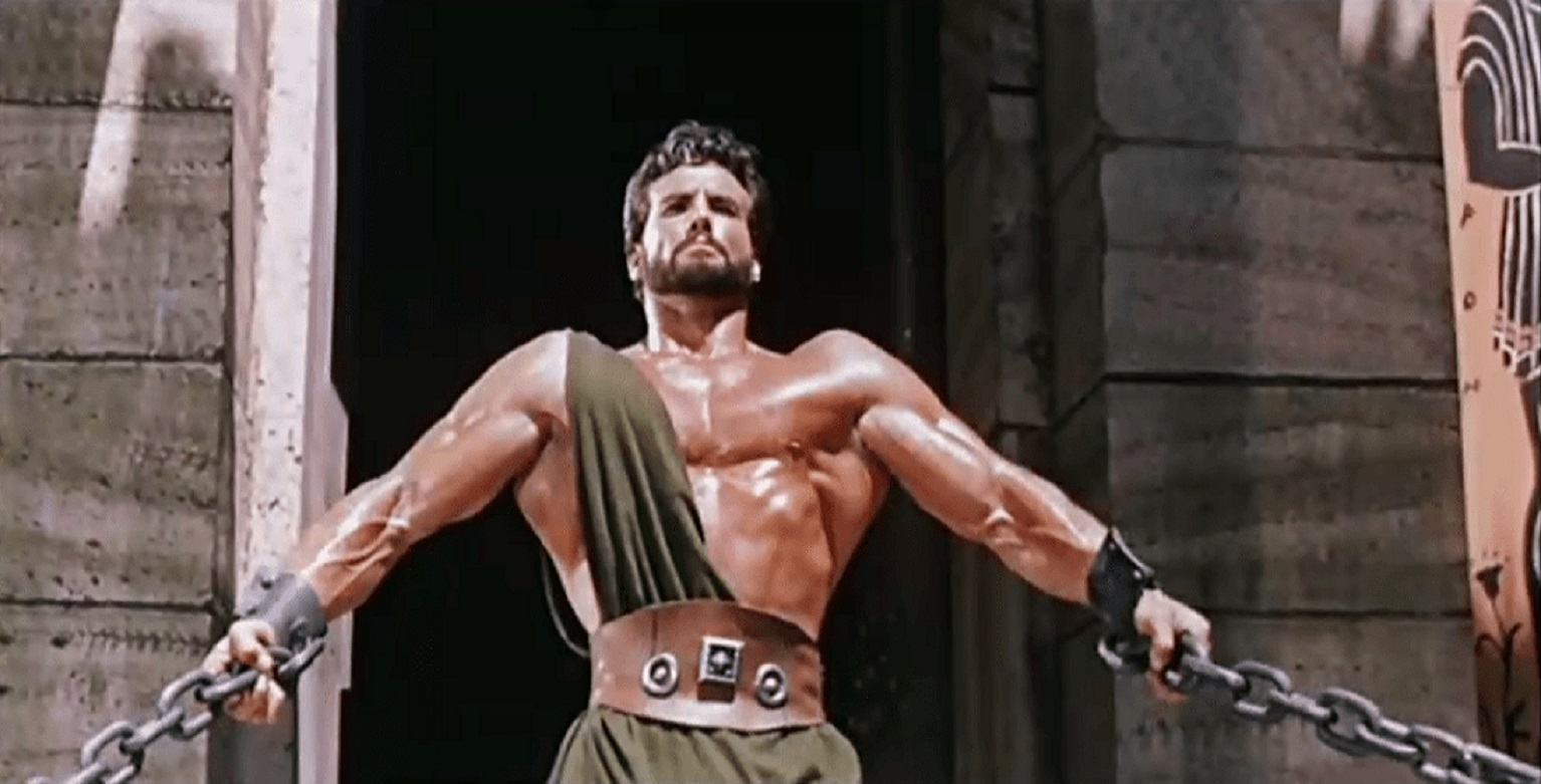Hercules (Steve Reeves) tears down the temple in Hercules (1958)