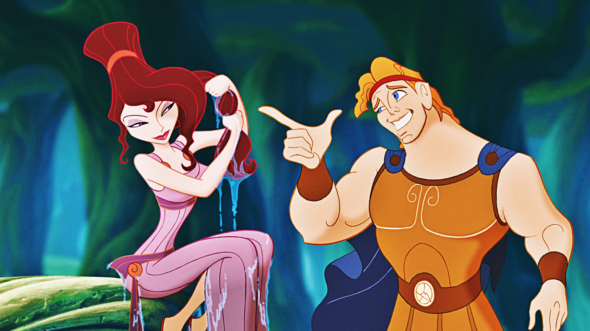 Hercules (voiced by Tate Donovan) and Megara (voiced by Susan Egan) in Hercules (1997)