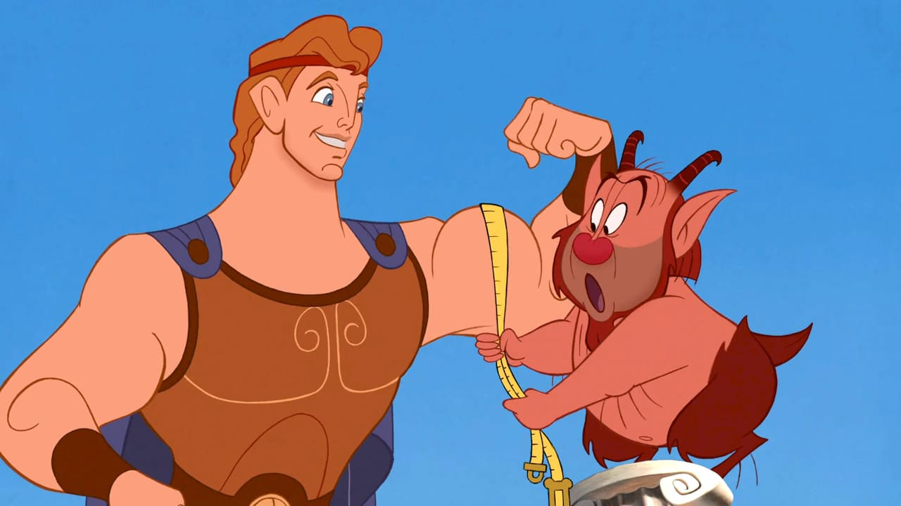 Hercules (voiced by Tate Donovan) and the satyr Philoctetes or Phil (voiced by Danny DeVito) in Hercules (1997)