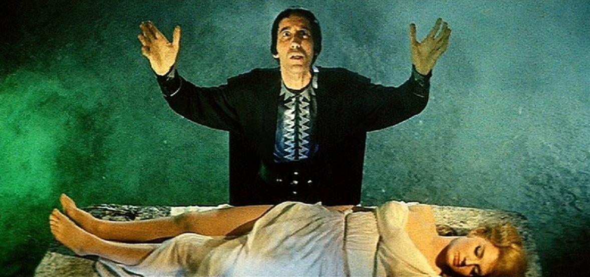 Lico (Christopher Lee) prepares to sacrifice Deianira (Leonora Ruffo) in Hercules in the Center of the Earth (1961)