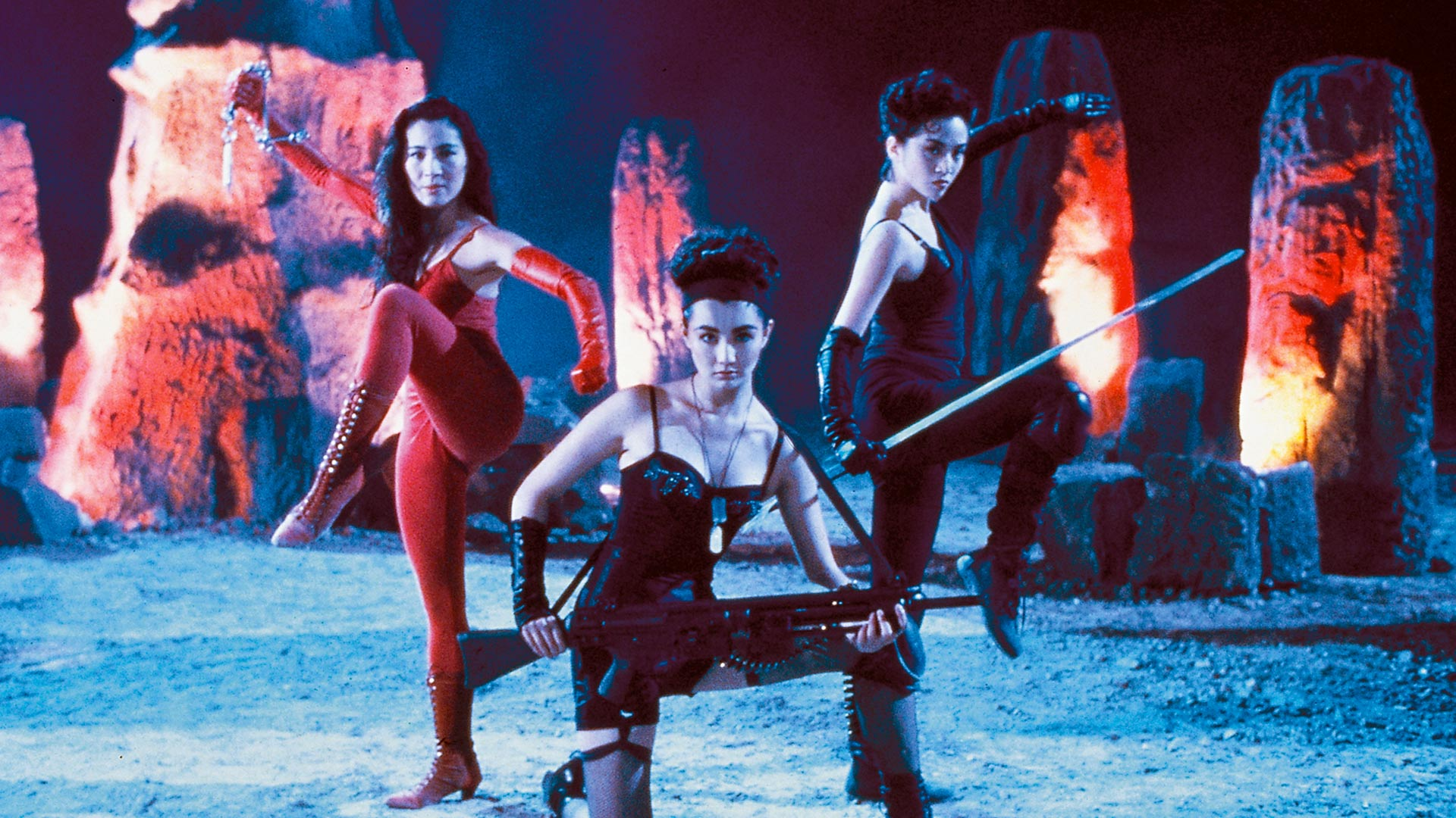 (l to r) Ching San (Michelle Yeoh), Thief Catcher Chat (Maggie Cheung) and Wonder Woman (Anita Mui) in The Heroic Trio (1993)
