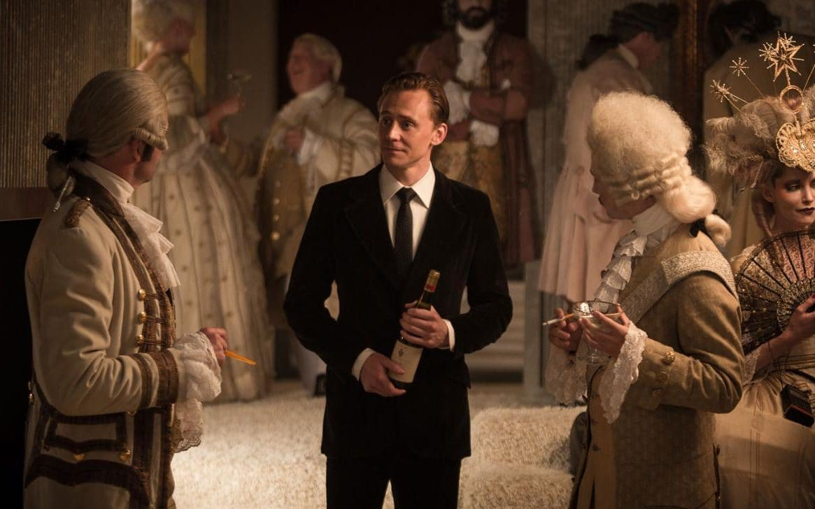 Tom Hiddleston arrives at the Louis XIV costume party in High-Rise (2015)