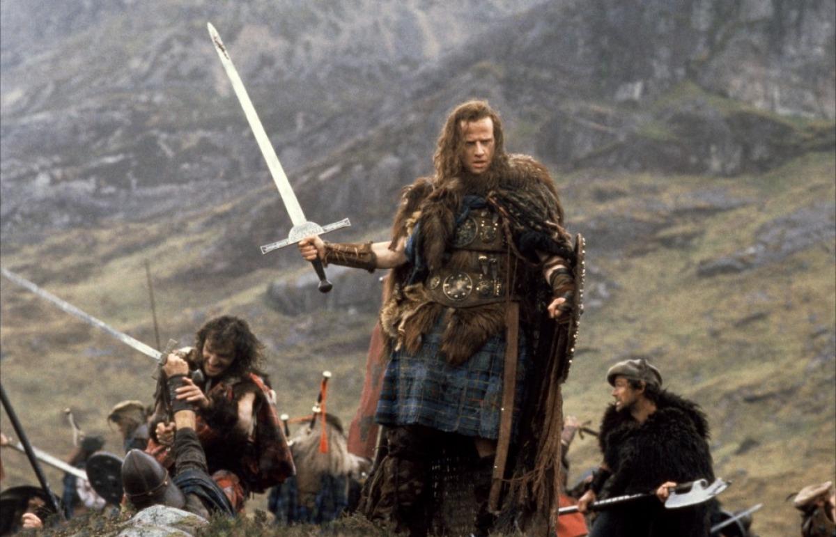 Christopher Lambert as 16th Century Scottish Highlander Conner McLeod in Highlander (1986)