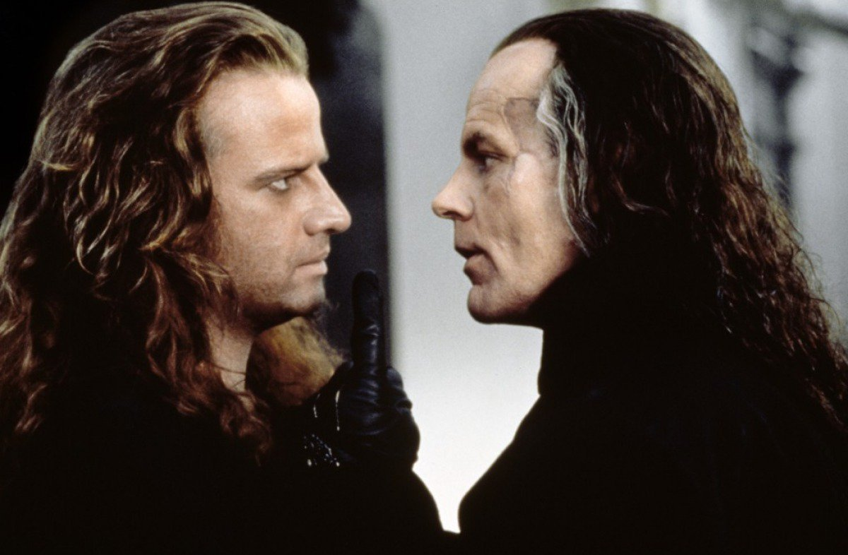 Conner McLeod (Christopher Lambert) and General Katana (Michael Ironside) in Highlander II: The Quickening (1991)