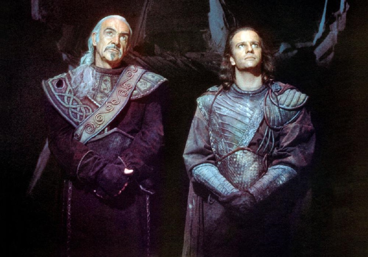Juan Ramirez (Sean Connery) and Conner McLeod (Christopher Lambert) - now aliens about to be exiled from the planet Zeist in Highlander II: The Quickening (1991)