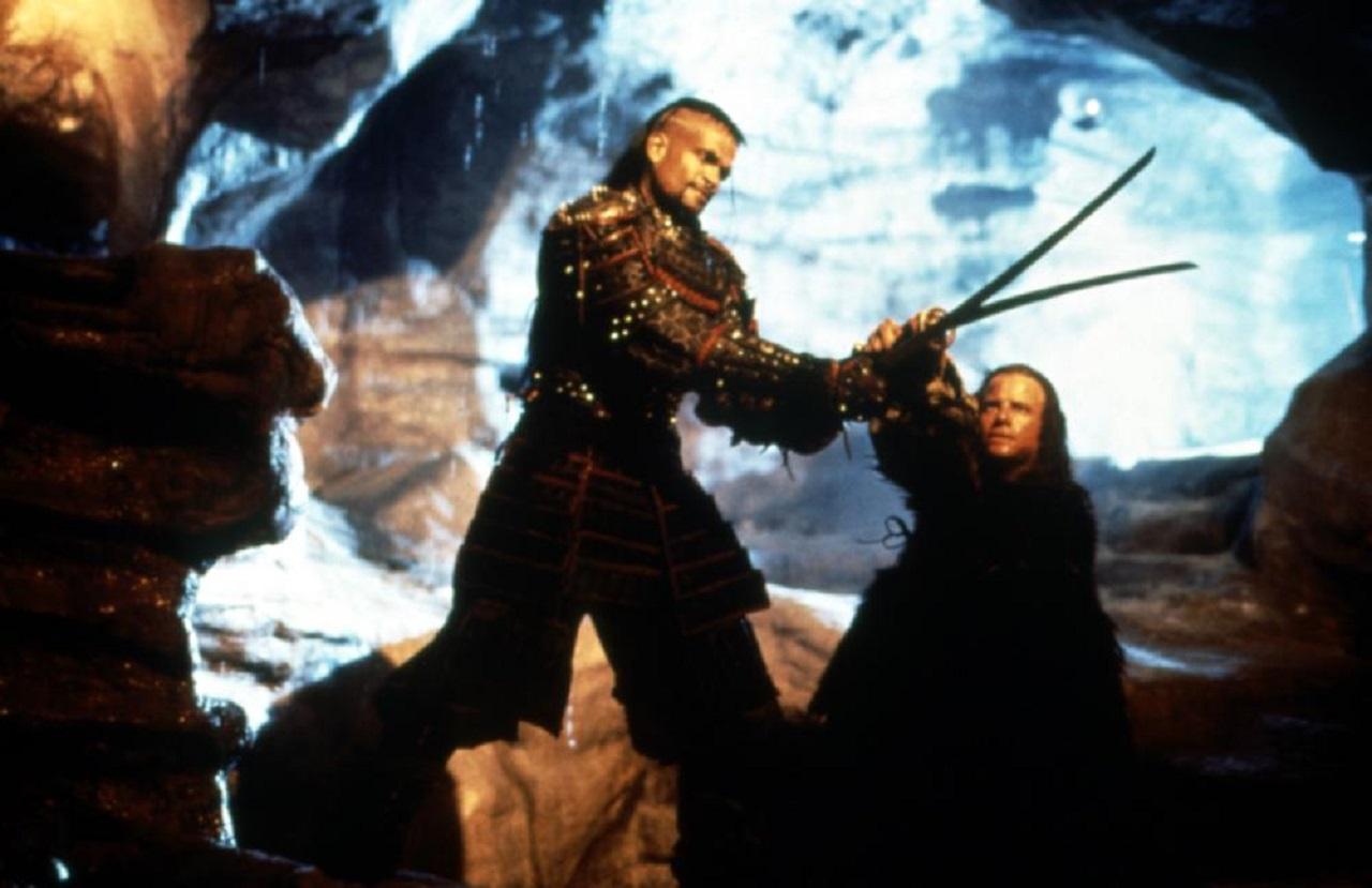 Immortals Kane (Mario Van Peebles) and Conner McLeod (Christopher Lambert) fight in Highlander III: The Sorcerer (1994)