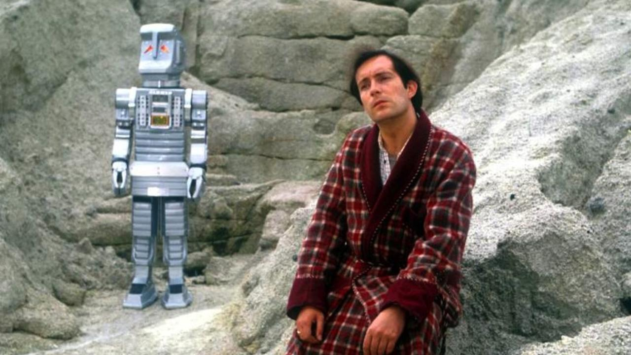 Arthur Dent (Simon Jones) and Marvin the Paranoid Android in The Hitch Hikers Guide to the Galaxy (1981)