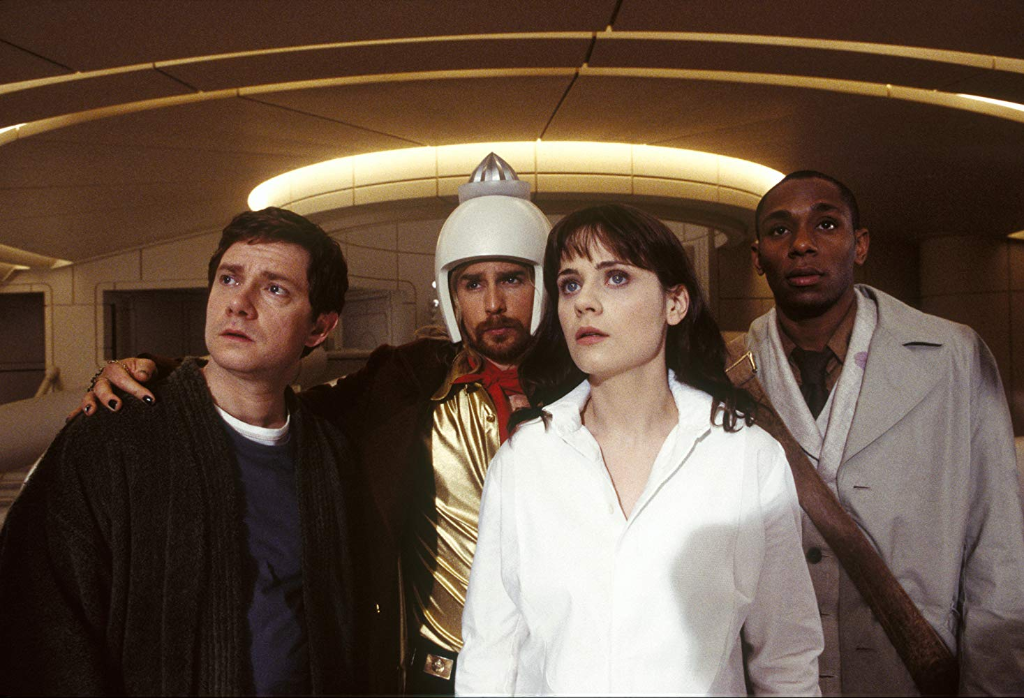Arthur Dent (Martin Freeman), Zaphod Beeblebrox (Sam Rockwell), Trillian (Zooey Deschanel) and Ford Prefect (Mos Def) in The Hitch Hiker's Guide to the Galaxy (2005)