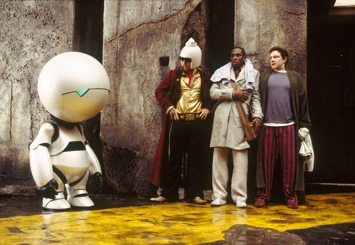 Marvin the Paranoid Android, Zaphod Beeblebrox (Sam Rockwell), Ford Prefect (Mos Def) and Arthur Dent (Martin Freeman) in The Hitch Hiker's Guide to the Galaxy (2005)