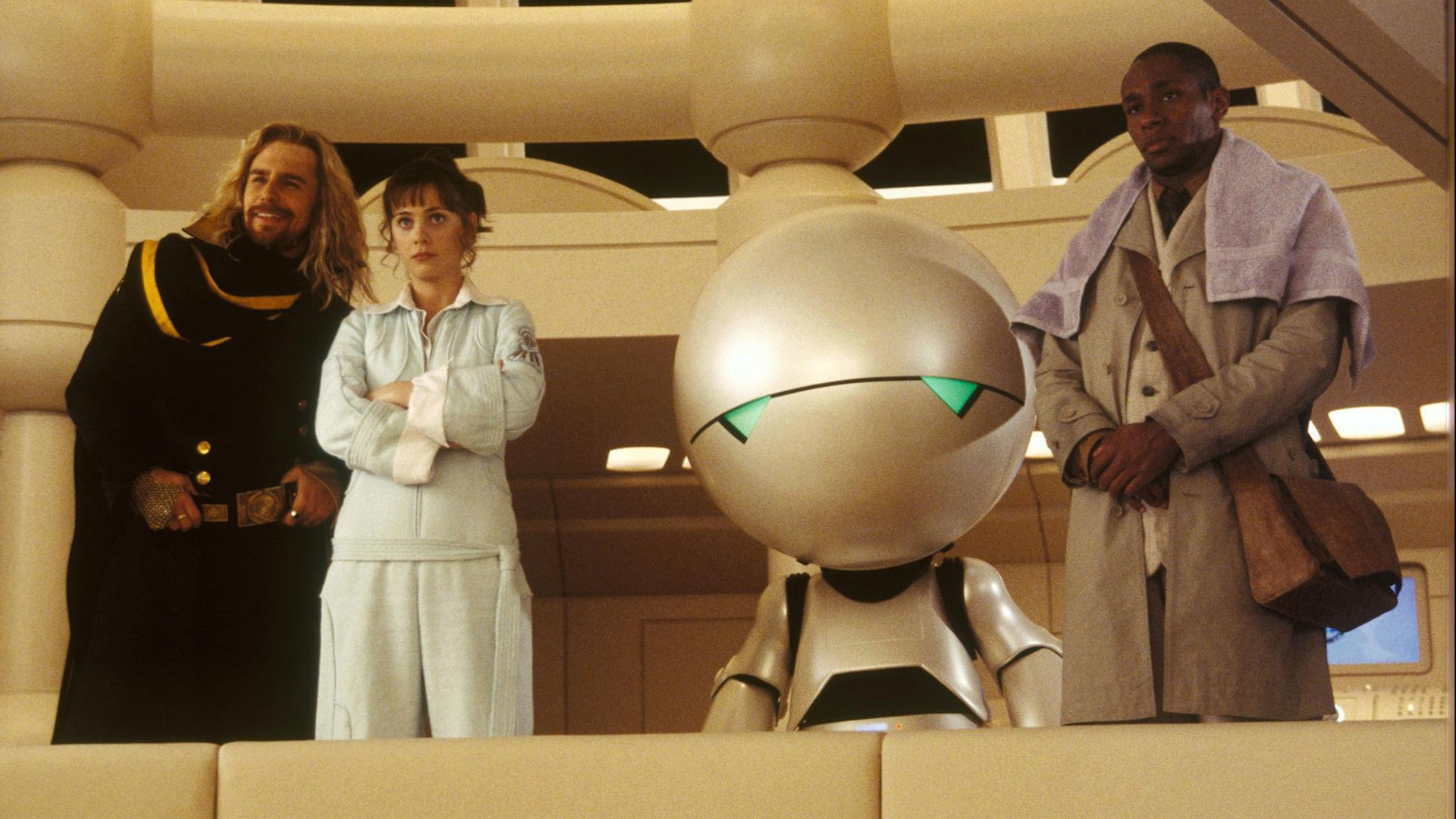 Zaphod Beeblebrox (Sam Rockwell), Trillian (Zooey Deschanel). Marvin the Paranoid Android and Ford Prefect (Mos Def) in The Hitch Hiker's Guide to the Galaxy (2005)