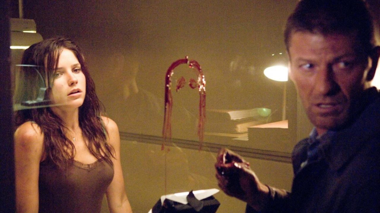 Sophia Bush in an interrogation room as Sean Bean invades the police station in The Hitcher (2007)