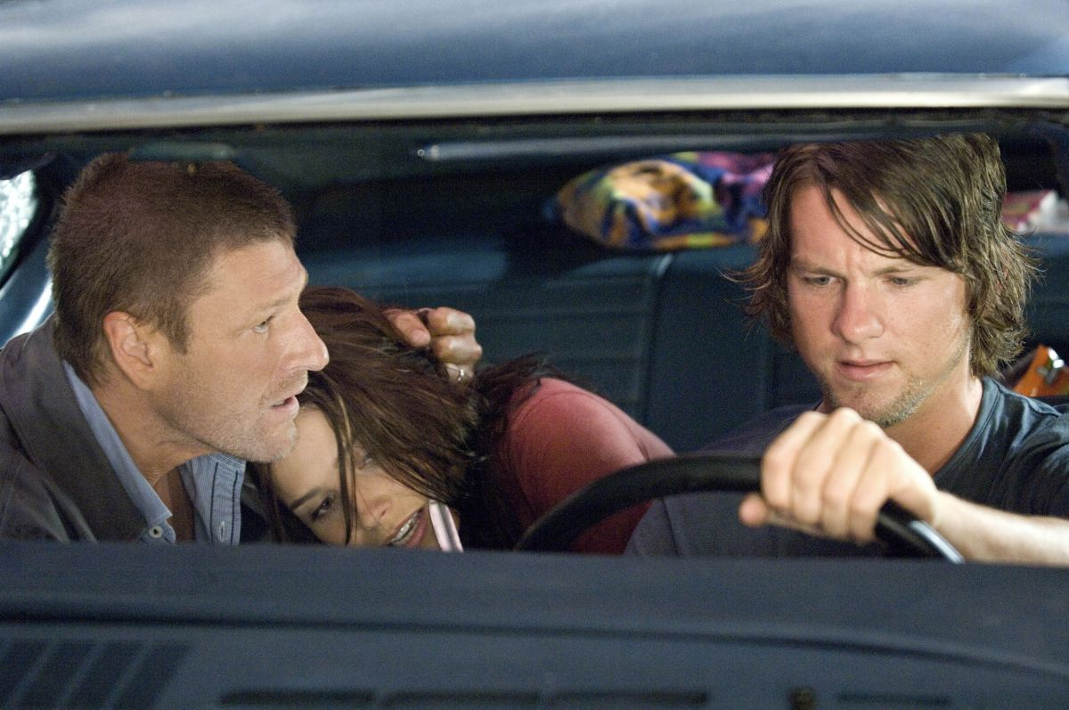 Zachary Knighton, Sophia Bush with Sean bean as The Hitcher