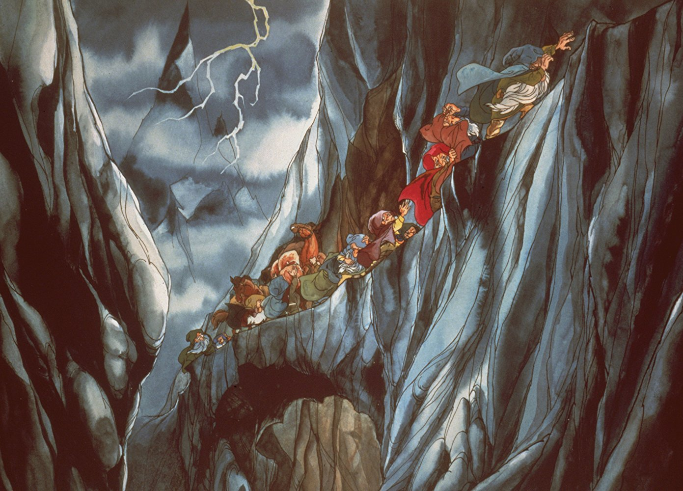 Bilbo and the hobbits on their journey to the Lonely Mountain in The Hobbit (1977)