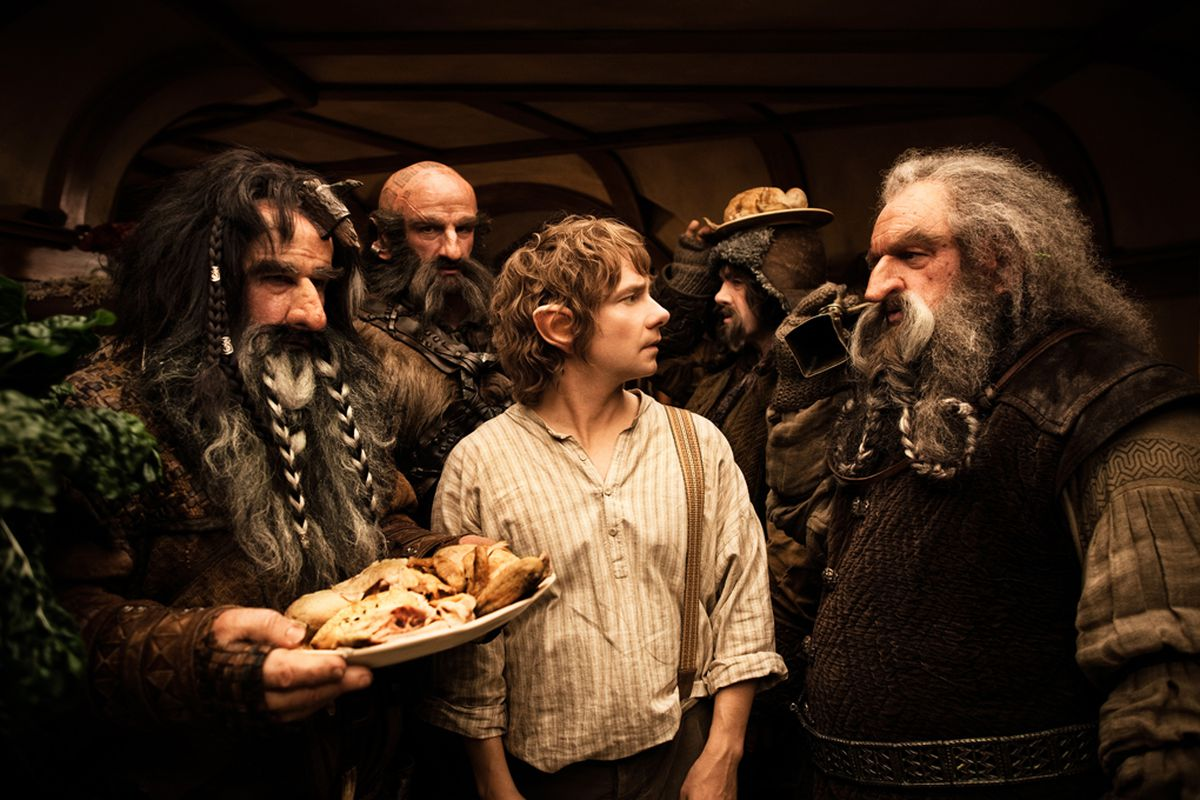 Bilbo (Martin Freeman)'s home is overrun by a party of dwarves in The Hobbit: An Unexpected Journey (2012)