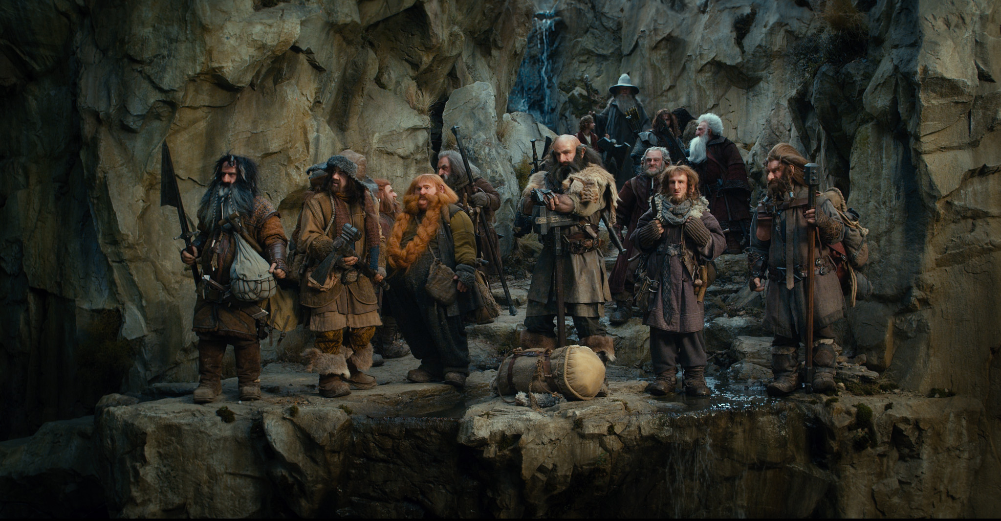 (l to r) Bifur (William Kircher), Bofur (James Nesbitt), Nori (Jed Brophy), Bombur (Stephen Hunter), Oin (John Callan), Dwalin (Graham McTavish), Dori (Mark Hadlow), Ori (Adam Brown), Balin (Ken Stott), and Gloin (Peter Hamilton) with Bilbo Baggins (Martin Freeman) and Gandalf (Ian McKellen) in The Hobbit: An Unexpected Journey (2012)