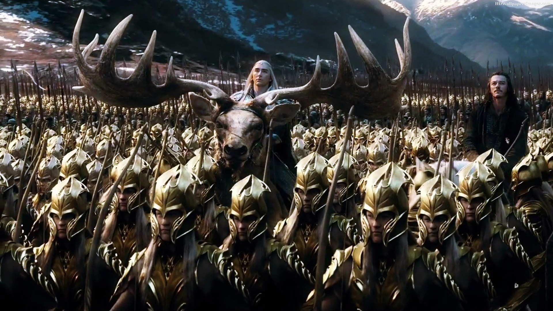 Thranduil (Lee Pace) and Bard (Luke Evans) ride in to battle at the head of an elven army in The Hobbit: The Battle of the Five Armies (2014)