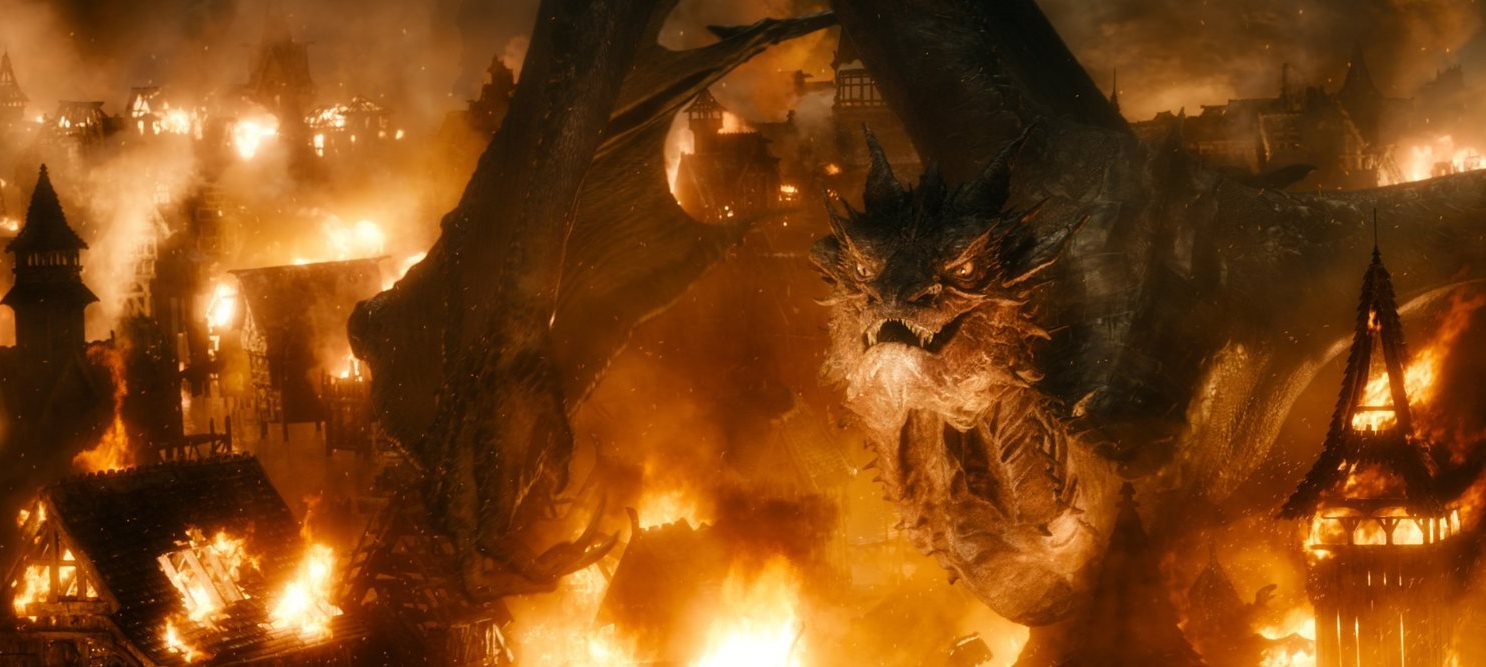 Smaug lays waste to Lake Town in The Hobbit: The Battle of the Five Armies (2014)