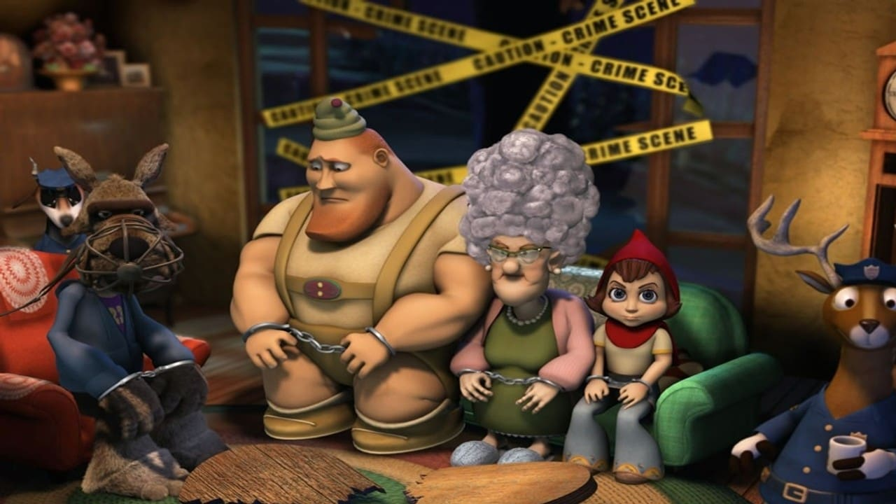 (l to r) The Wolf, The Woodsman, Granny Puckett and Little red Riding Hood at the scene of the crime in Hoodwinked! (2005)