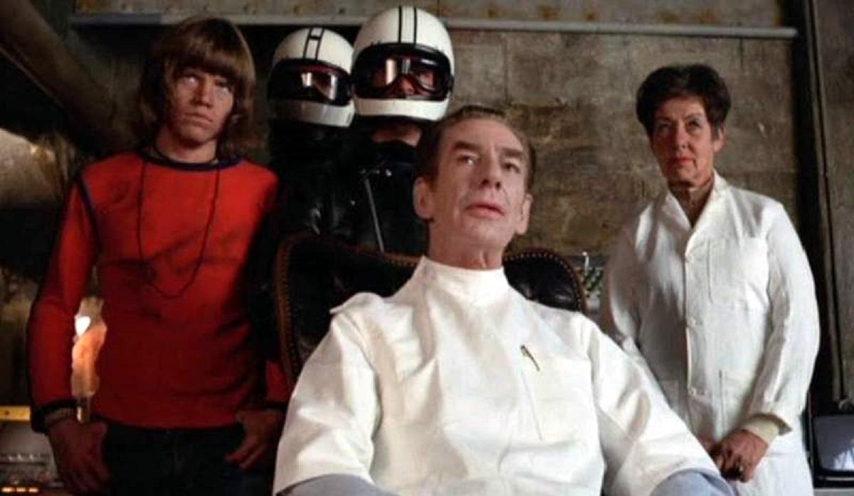 Robin Askwith, Michael Gough and Ellen Pollock in Horror Hospital (1973)