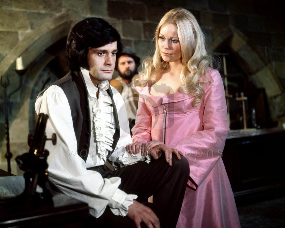 Ralph Bates, Hammer's newer younger Baron Frankenstein, with Veronica Carlson as Elizabeth in The Horror of Frankenstein (1970)
