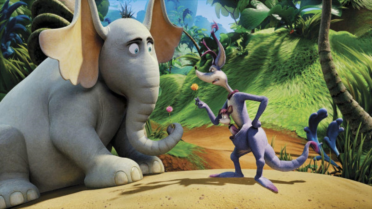 Horton (voiced by Jim Carrey) faces the sour kangaroo (voiced by Carol Burnett) in Horton Hears a Who! (2008)