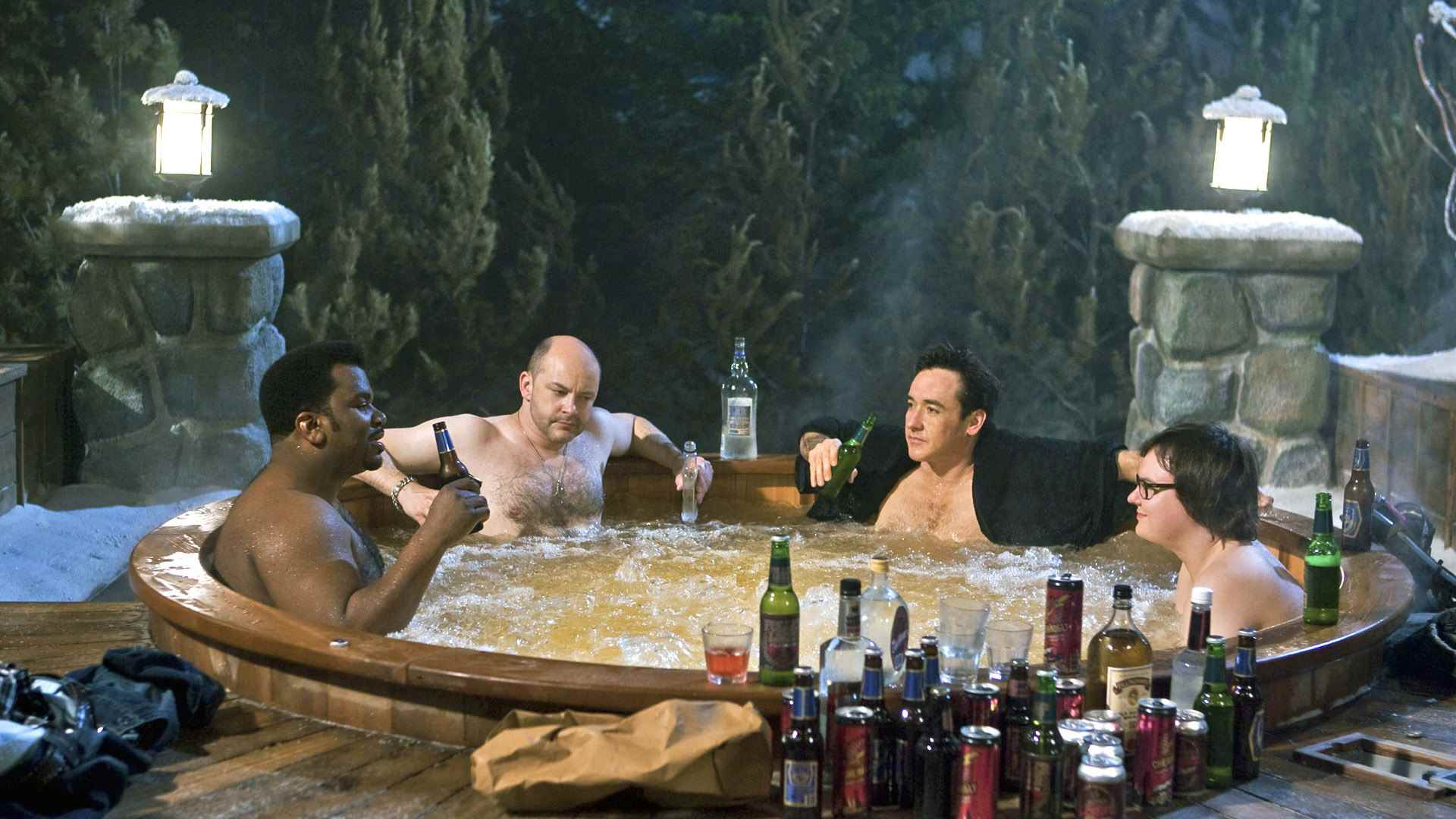Craig Robinson, Rob Corddry, John Cusack and Clark Duke relax in the hot tub in Hot Tub Time Machine (2010)