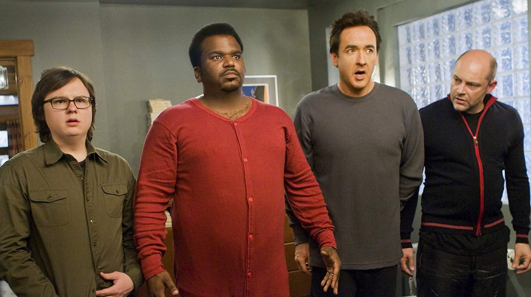 Time travelers Clark Duke, Craig Robinson, John Cusack and Rob Corddry in Hot Tub Time Machine (2010)