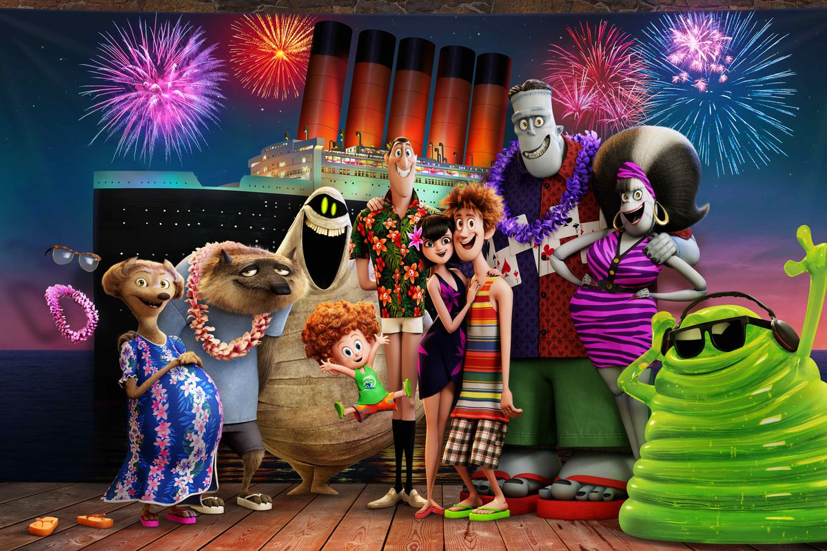 The monsters on vacation - Wanda, Wayne, Murray, Dennis, Dracula, Mavis, Jonathan, Frankenstein, Eunice and Blobby in Hotel Transylvania 3 Summer Vacation (2018)