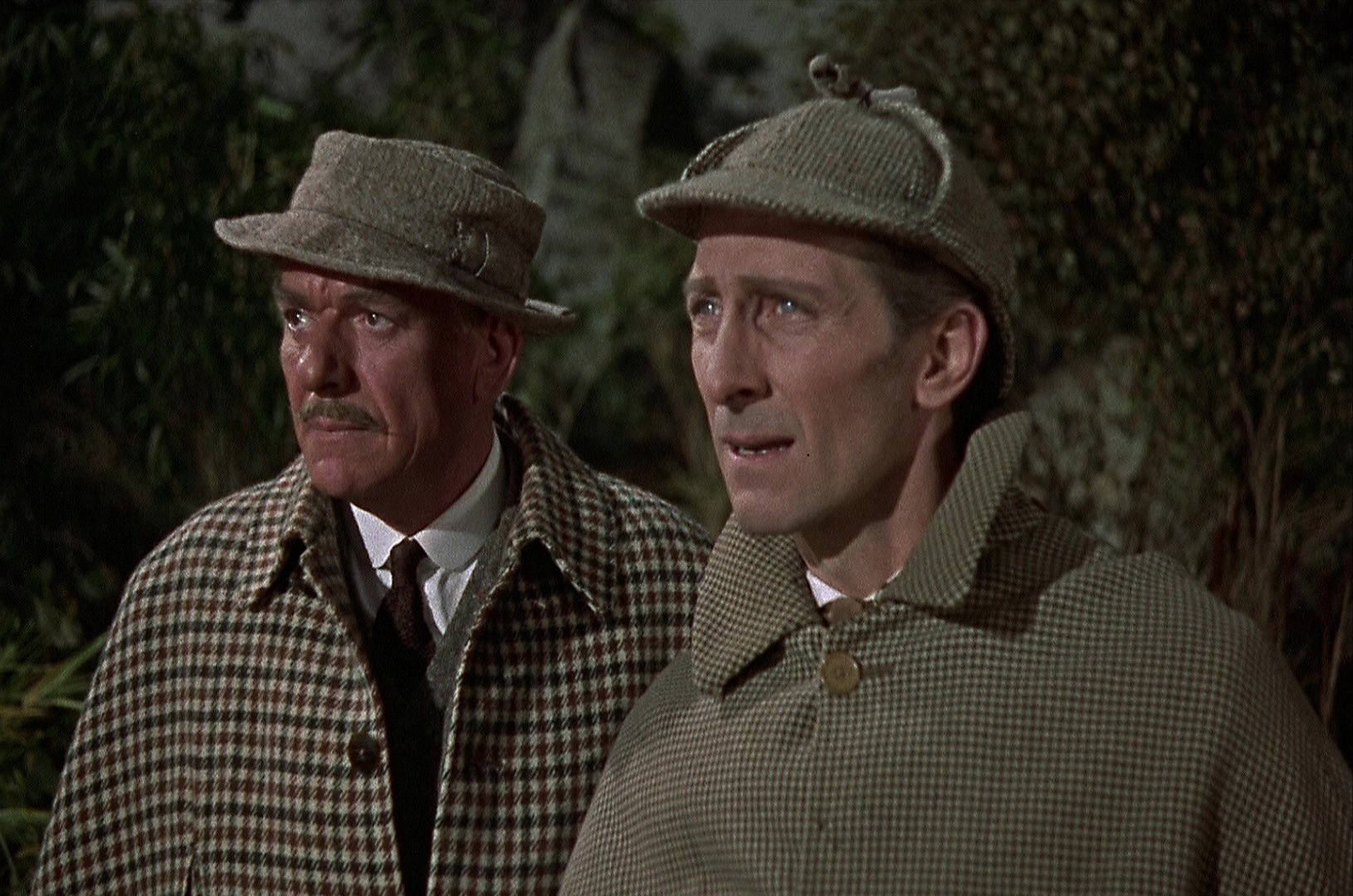 Dr Watson (Andre Morell) and Sherlock Holmes (Peter Cushing) on the moors in The Hound of the Baskervilles (1959)