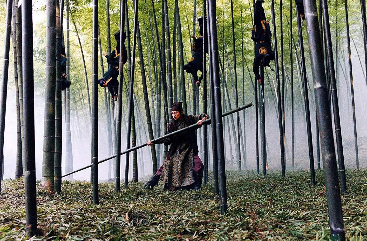 The film's showstopping set-piece - the fight in the bamboo forest in House of Flying Daggers (2004)