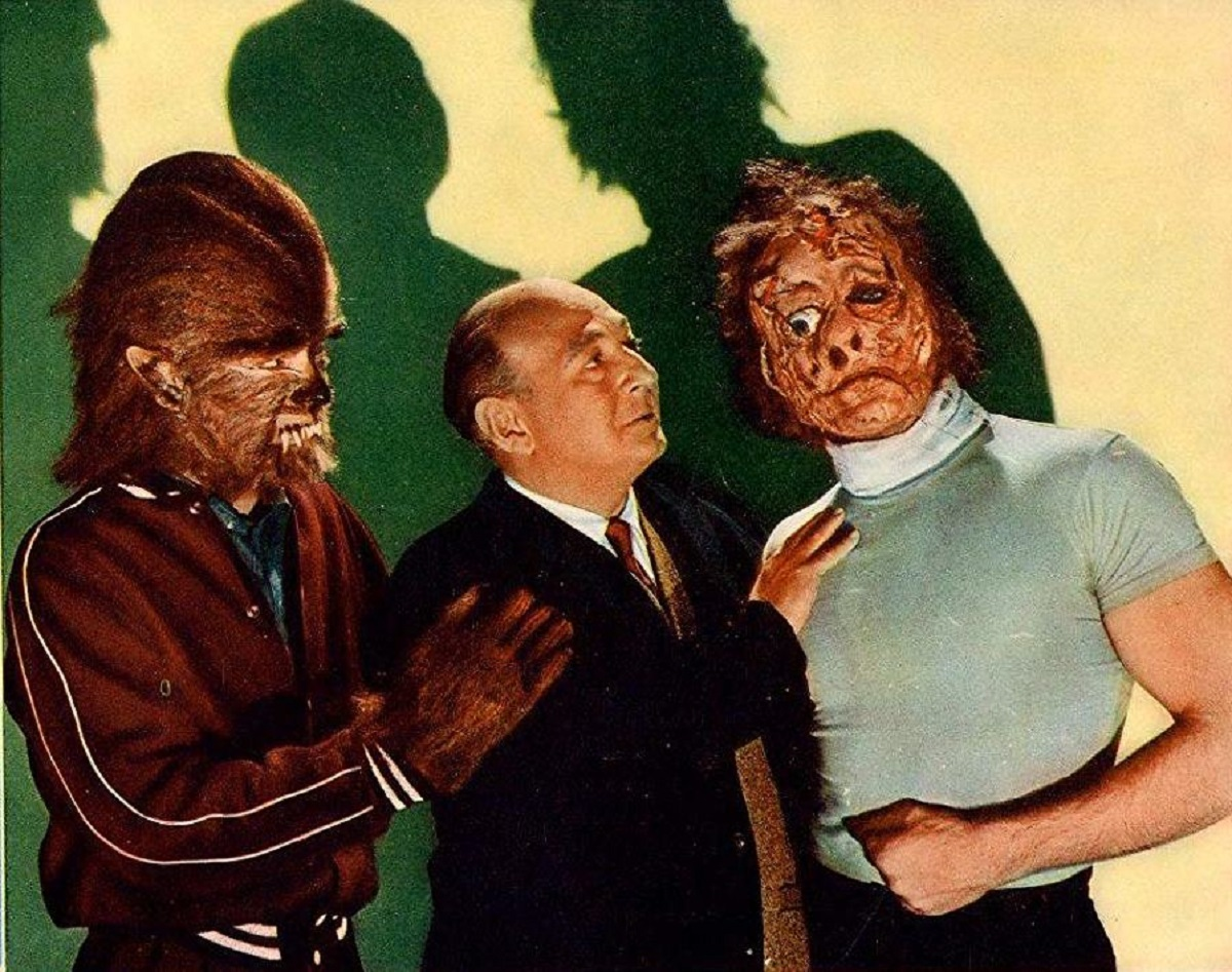 Makeup artist Robert H. Harris with two his monster creations in How to Make a Monster (1958)