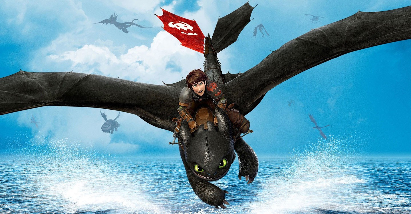 Hiccup (voiced by Jay Baruchel) and Toothless the dragon in flight in How to Train Your Dragon 2 (2014)