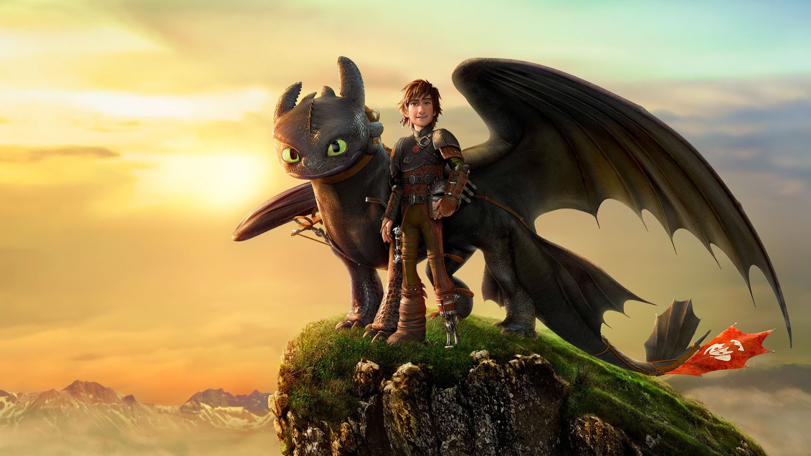 Hiccup (voiced by Jay Baruchel) and his tamed dragon Toothless in How to Train Your Dragon (2010)