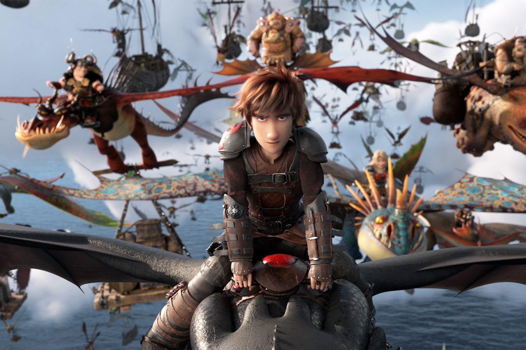 Hiccup (voiced by Jay Baruchel) rides Toothless at the head of the dragon army in How to Train Your Dragon: The Hidden World (2019)