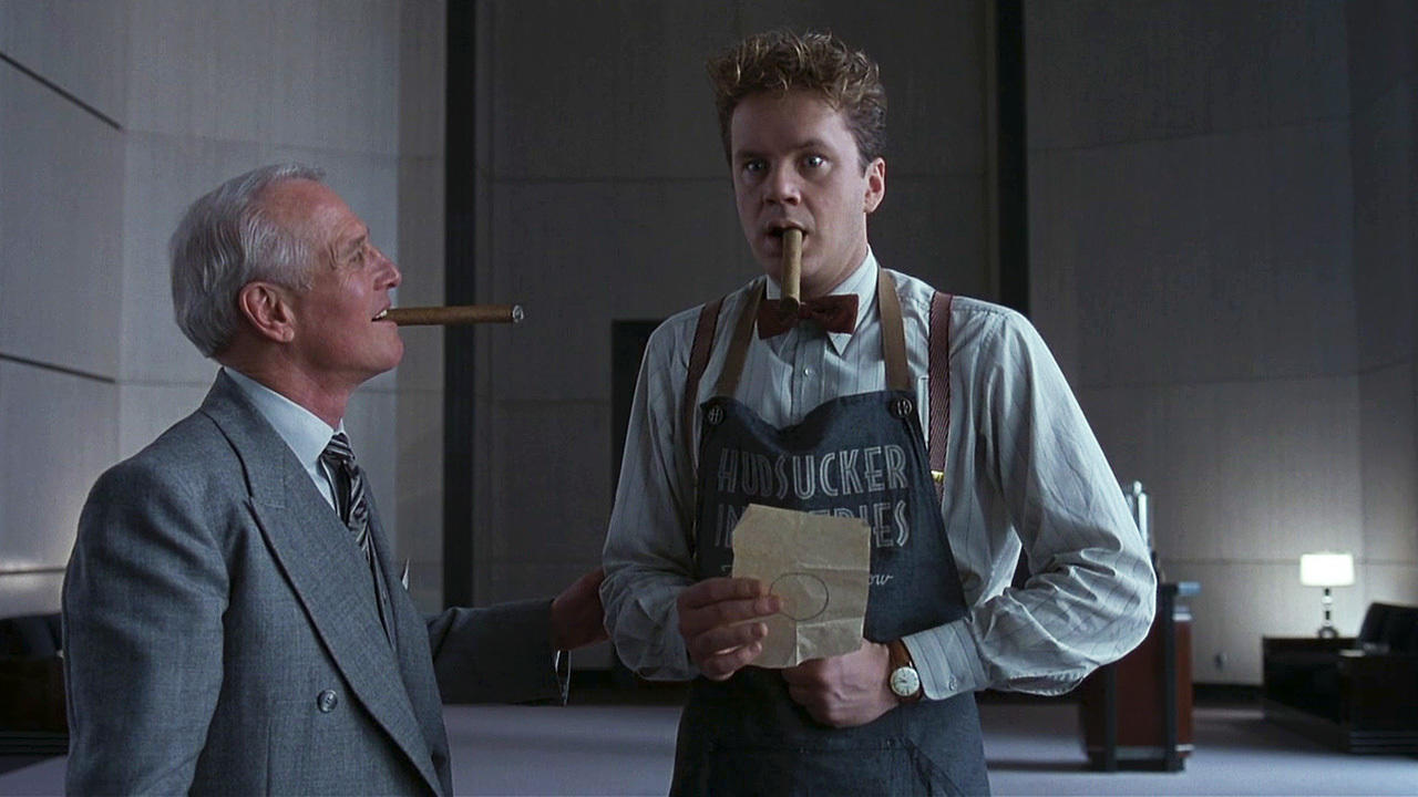 (l to r) Vice-President Sidney J. Mussburger (Paul Newman) and Norville Barnes (Tim Robbins), a mailboy promoted to CEO in The Hudsukcer Proxy (1994)