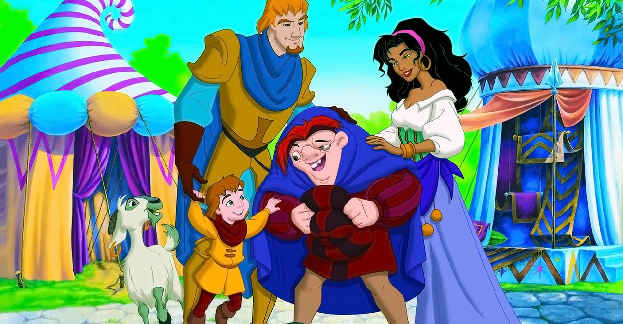 Phoebus and Esmeralda, their son Zephyr and Quasi in The Hunchback of Notre Dame II (2002)