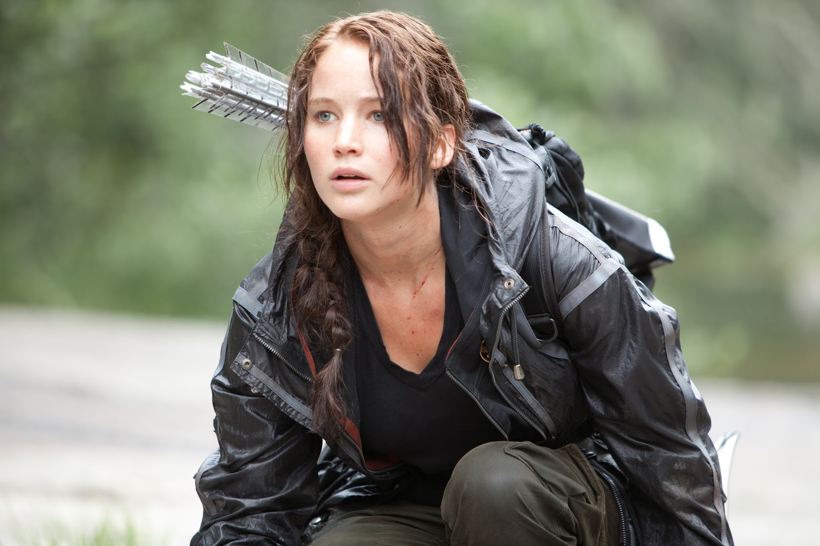 Jennifer Lawrence as Katniss Everdeen in The Hunger Games (2012)