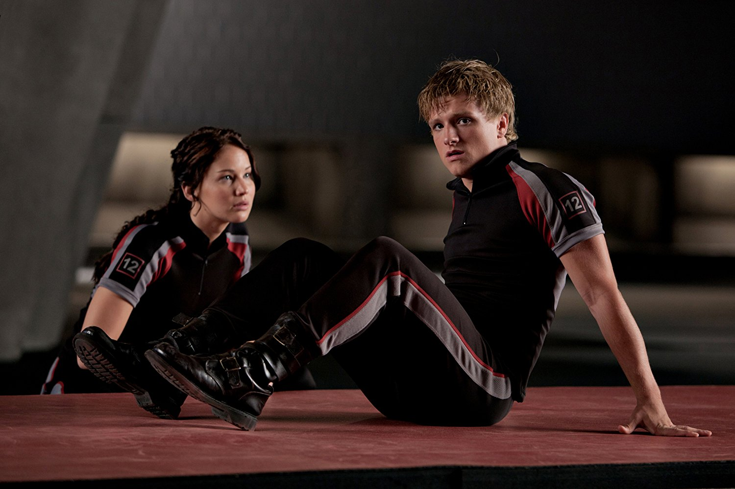 Katniss Everdeen (Jennifer Lawrence) and Peeta Mellark (Josh Hutcherson) in The Hunger Games (2012)