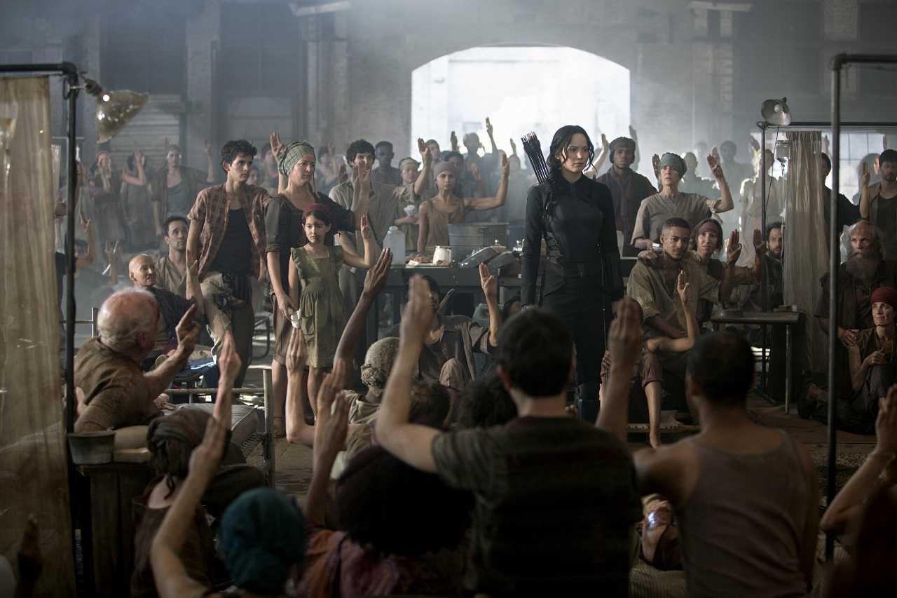 Katniss Everdeen (Jennifer Lawrence) in The Hunger Games: Mockingjay Part 1 (2014)