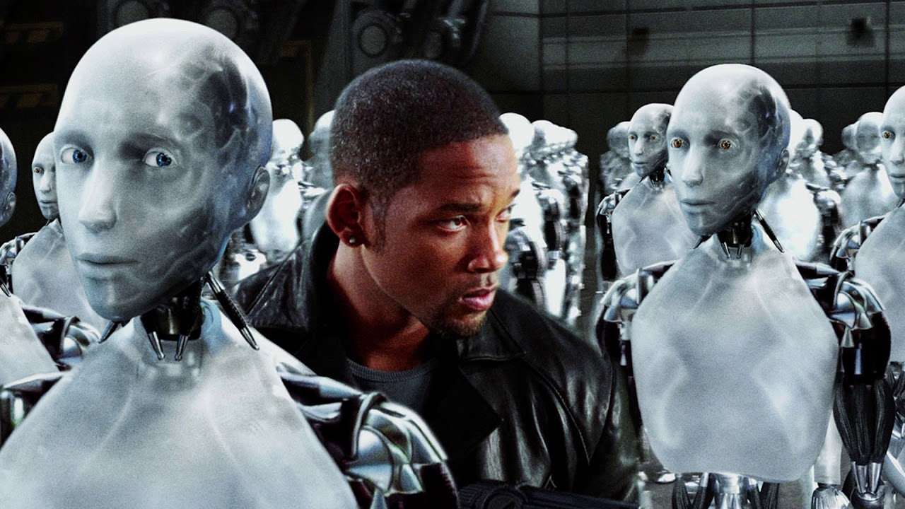 Will Smith tries to find Sonny amid thousands of identical robots in I, Robot (2004)