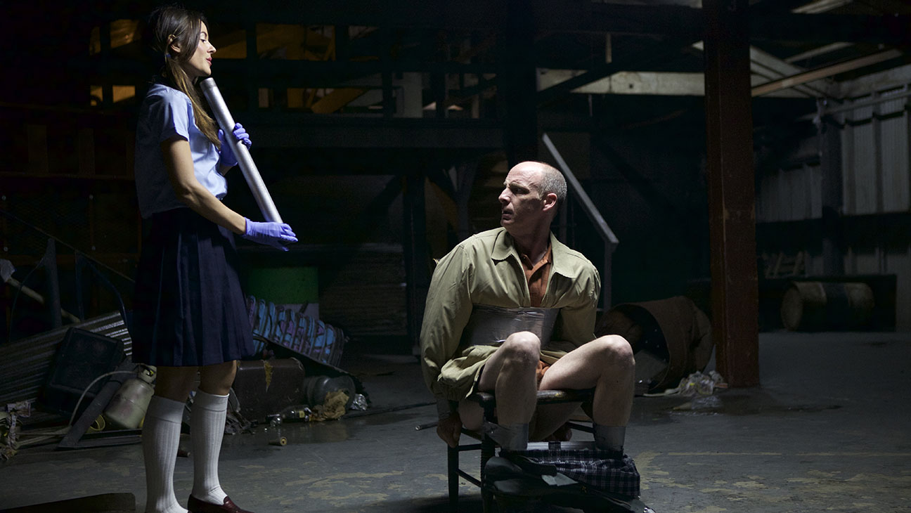 Sarah Butler prepares to hammer a pipe up Christopher Hoffman's ass in I Spit on Your Grave III: Vengeance is Mine (2015)