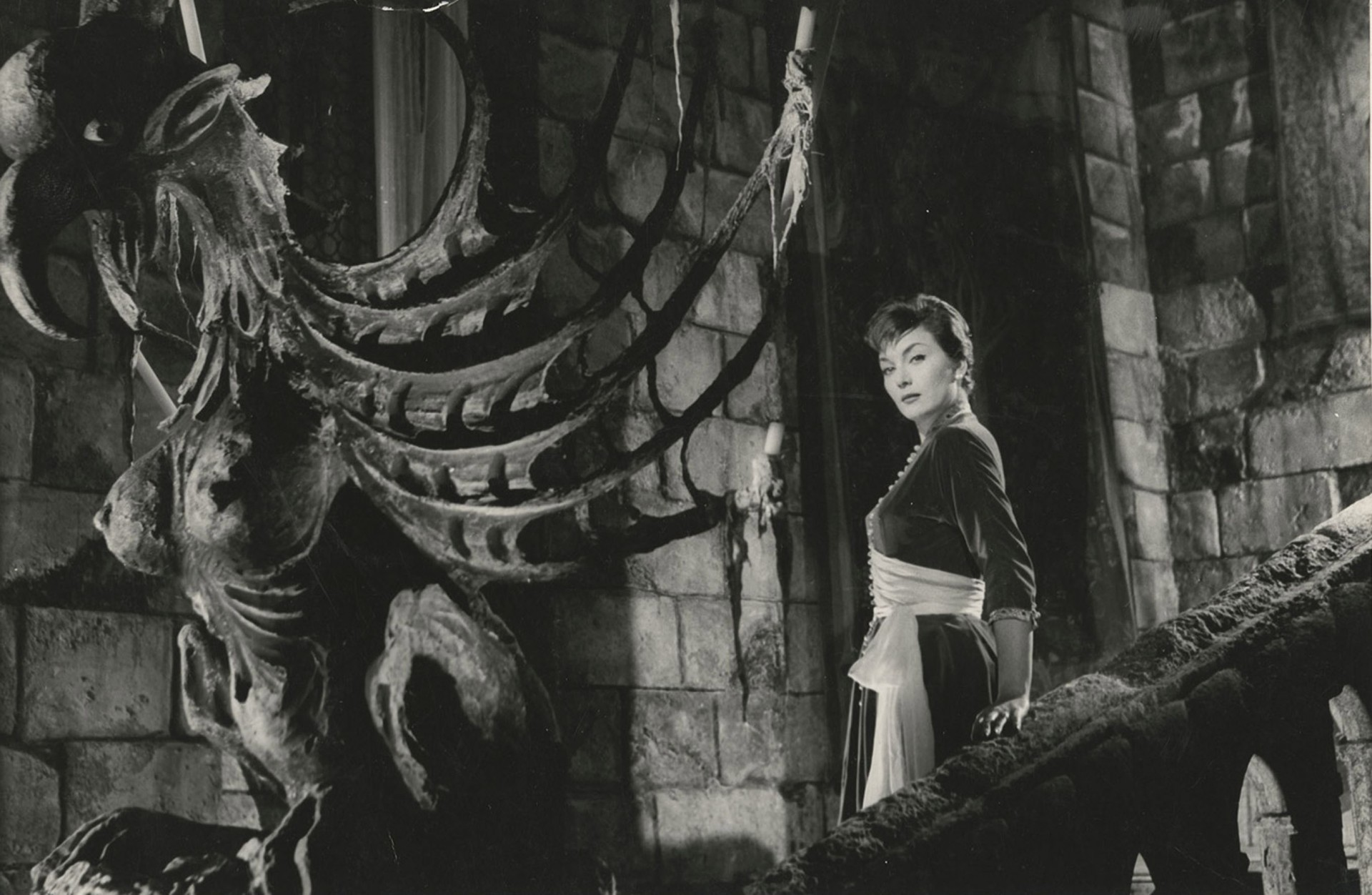 Gianna Maria Canale amid Gothic castle setting in I Vampiri (1957)