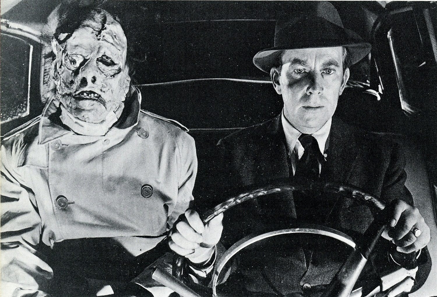 Professor Frankenstein (Whit Bissell) (r) with his teenage monster (Gary Conway) (l) in I Was a Teenage Frankenstein (1957)