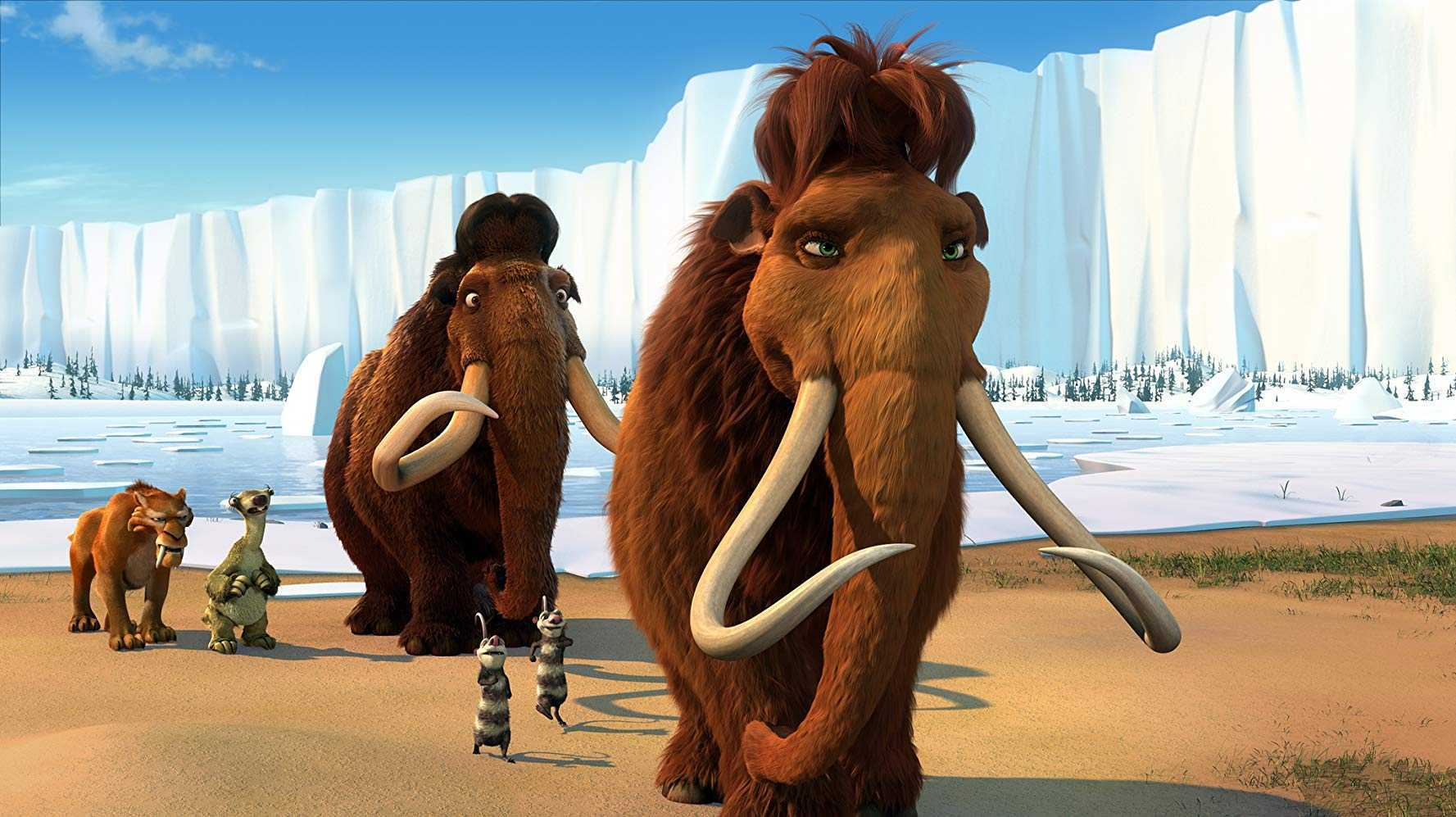 (l to r) Diego the sabre-tooth tiger (voiced by Denis Leary), Sid the sloth (voiced by John Leguizamo), Manfred the mammoth  (voiced by Ray Romano), the possums Crash and Eddie (voiced by Seann William Scott and Josh Peck), and Ellie (voiced by Queen Latifah) in Ice Age 2 (2006)